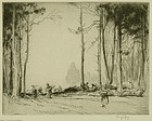 "George Soper, etching, ""Wood Gatherers"""
