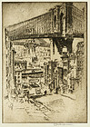 "Joseph Pennell, etching, ""The Bridges, from Brooklyn"""