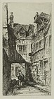 "John Taylor Arms, etching, ""Old Rouen,"" 1917"