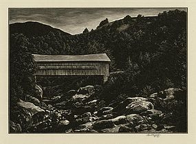 Asa Cheffetz, engraving, Bridge over Mad River, 1946