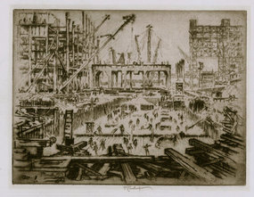 "Joseph Pennell, etching, ""Hudson Ave Foundations"" 1923"