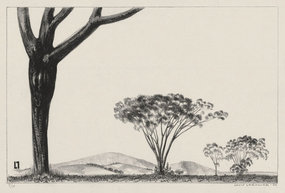 """Louis Lozowick, lithograph, """"Trees and Mountains,"""" 1930"""