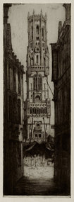 "David Y. Cameron, etching, ""The Belfrey of Bruges,"""
