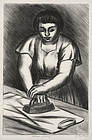 "Julius Tanzer, lithograph, ""Woman Ironing"" c. 1940"