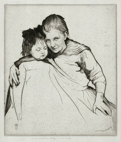 "William Lee Hankey, etching, ""Affection,"" c. 1920"
