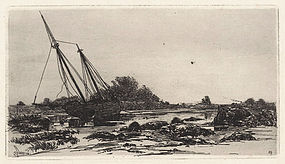 "Stephen Parrish, etching, ""On the Annisquam, 1880"""