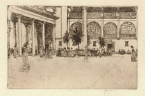 "David Muirhead Bone, Etching, ""The Piazza"", 1901"