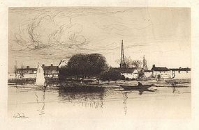"Stephen Parrish, Etching, ""Near Dinard, Brittany,"" 1888"