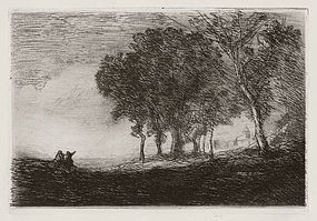 "Jean Baptiste Camille Corot, Etching ""Paysage d'Italie"""
