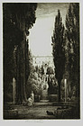 "Percival Gaskell, Etching, ""In the Garden,"" c. 1930"