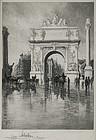 """Charles Mielatz, Etching, """"Dewey Triumphal Arch,"""" 1899"""