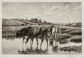 Peter Moran, Etching,
