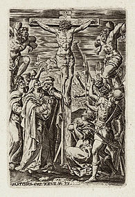 "Johannes Wierix, Engraving, ""The Crucifixion"""