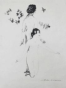 "Arthur Bowen Davies, Lithograph, ""Circling Doves"" 1921"