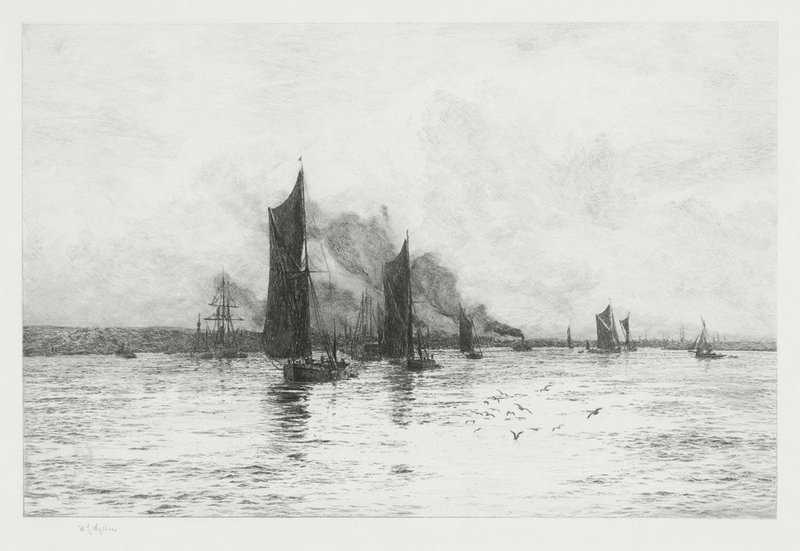William Wyllie, Etching, Departure of the Fishing Boats