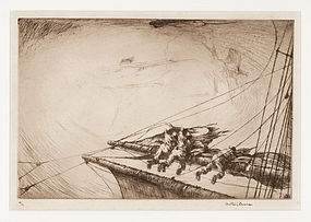 "Arthur J. T. Briscoe, Etching, ""Typhoon, The Burst Topsail"" 1924"