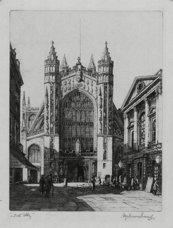"""Francis Hopkinson Smith, Etching, """"Bath Abbey"""""""