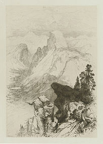 "Thomas Moran, Etching, ""The Half Dome- View From Moran Point"" 1887"