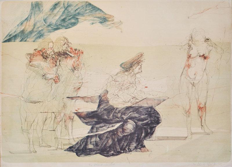 "Claude Weisbach, Color Lithograph, ""The Amateur's Visit"""