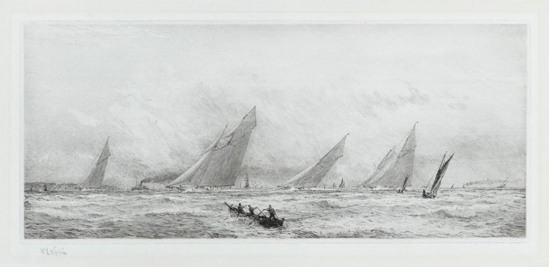 "William Lionel Wyllie, Etching, ""Windy Day Cowes Week-Isle of Wight"""