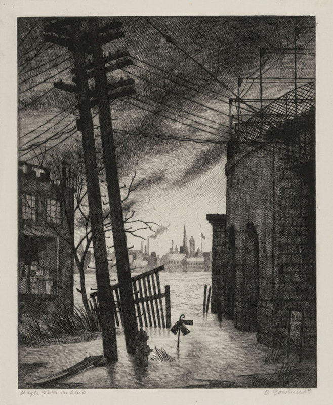 "Douglas W. Gorsline, Etching, ""High Water on the Ohio"", 1939"