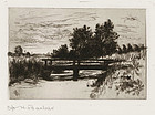 "Otto Bacher, Etching, ""The Bridge, Schleissheim"" 1879"