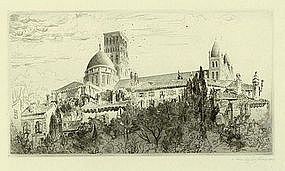 """John Taylor Arms, Etching, """"Angouleme Revisited"""""""