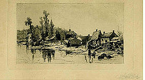 """Stephen Parrish etching, """"Lewisberg on the Schroon"""""""