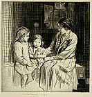 "William Lee Hankey etching, ""The Birthday"""