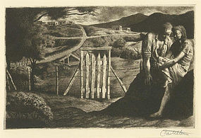 "Frederico Castellon, Lithograph, ""Taos Tryst"""
