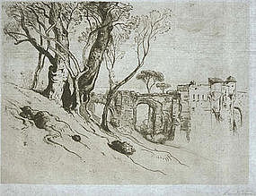 """Samuel Coleman, Etching, """"Olive Trees on the Riviera"""""""