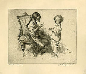 "John Edward Costigan, Etching, ""Rosella and Danny"""