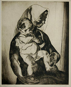 """John Edward Costigan, Etching, """"Mother and Child"""""""