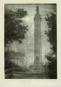 """Leon Louis Dolice, Etching, """"New York Monument at Night"""