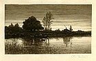 "Charles Mielatz, Etching, ""Pond with Rowboat"""