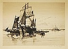 "Charles Mielatz, Etching, ""Whalers in the Harbor"""
