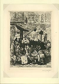 "Irving Wolfson, Etching, ""East Side Market"""