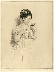 Lucien Grand-Gerard, Etching, Young Girl with Flowers