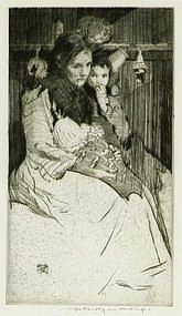 "William Lee Hankey, Etching, ""The Widow"""