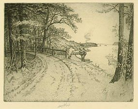 "Charles Mielatz, Etching, ""Along the Hudson"""