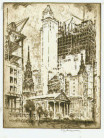 "Joseph Pennell, etching, ""St. Paul's, New York"""