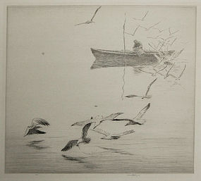 "Harold Kerr Eby, etching, ""The Lobsterman"""