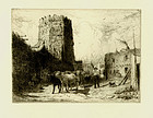 "Peter Moran, etching, ""Church of San Miguel, Santa Fe"""