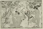 "Arthur Bowen Davies, etching, ""Angled Beauty"""
