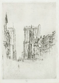 "Joseph Pennell, etching, ""Upper Fifth Ave, NYC"""