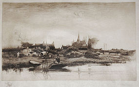 "Stephen Parrish, etching, ""Evening in Brittany"""