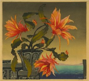 "Hugo Noske, woodblock, ""Still Life with Tigerlillies"""