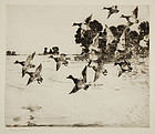"Frank Benson, etching, ""The Passing Flock"""