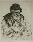 "Arthur Heintzelman, etching, ""Edouard, Musician"""