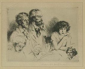 """Arthur Heintzelman, etching, """"Planche Aux Cinq Croquis"""""""